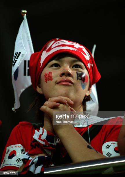 Football 2002 FIFA World Cup Finals Second Phase Daejeon South Korea 18th June 2002 South Korea 2 v Italy 1 A colourful South Korean supporter...