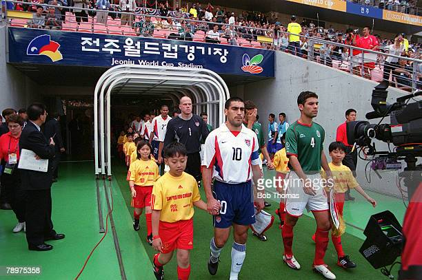 Football 2002 FIFA World Cup Finals Second Phase Jeonju South Korea 17th June 2002 Mexico 0 v USA Rival captains Claudio Reyna USA and Rafael Marquez...