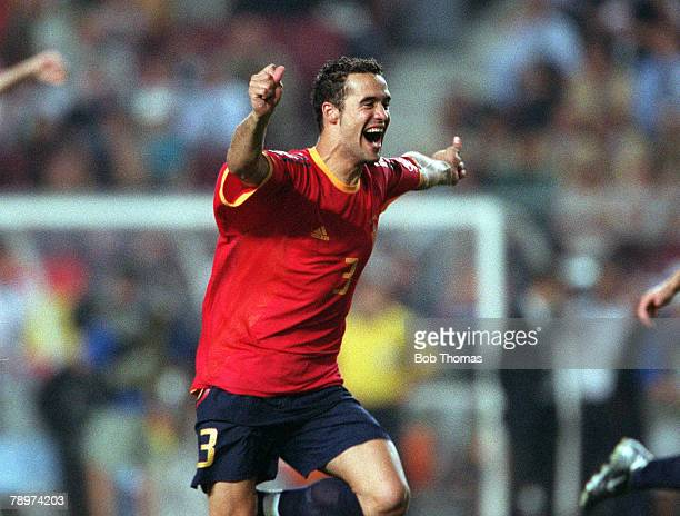 Football 2002 FIFA World Cup Finals Second Phase Suwon South Korea 16th June 2002 Spain 1 v Republic Of Ireland 1 Spain's Juanfran celebrates as his...