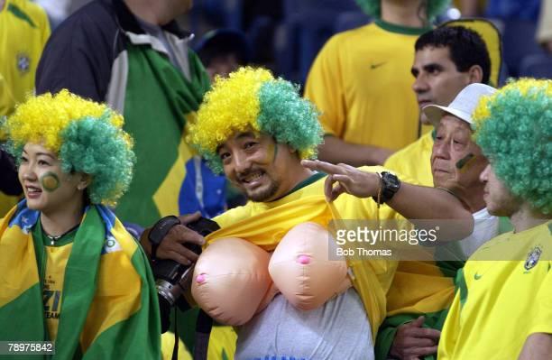 Football 2002 FIFA World Cup Finals Semi Final Saitama Japan 26th June 2002 Brazil 1 v Turkey 0 A Brazilian fan with large fake breasts