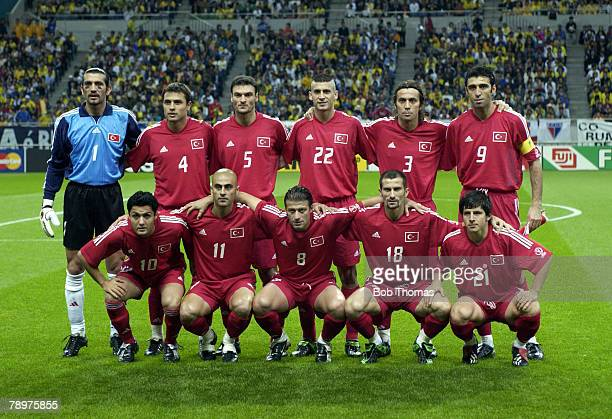 Football 2002 FIFA World Cup Finals Semi Final Saitama Japan 26th June 2002 Brazil 1 v Turkey 0 Turkey team group LR Back Row Rustu Recber Fatih...