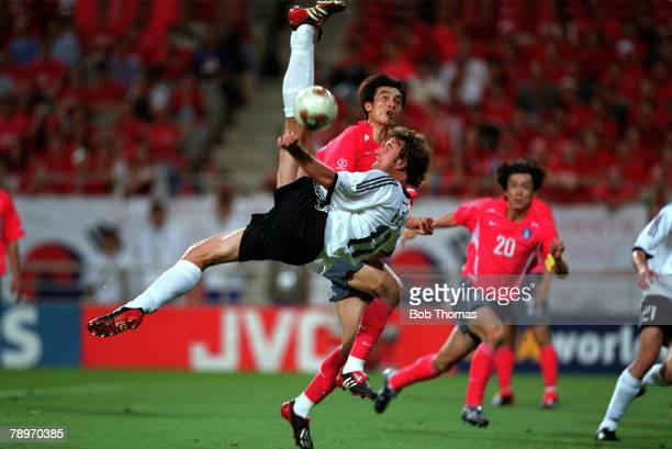 Football 2002 FIFA World Cup Finals Semi Final Seoul South Korea 25th June 2002 Germany 1 v South Korea 0 Germany's Marco Bode attempts a spectacular...