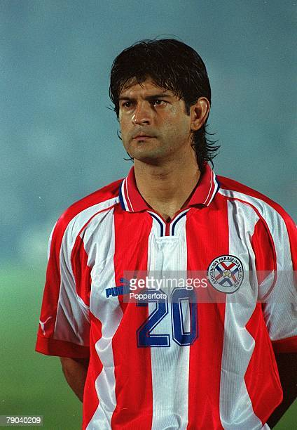 Football 2002 South American CONMEBOL World Cup Qualifier Montevideo 28th March 2001 Uruguay 0 v Paraguay 1 Portrait of Paraguay's Jose Cardozo