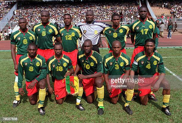 Football 2002 World Cup Qualifier African Second Round Group A Yaounde 25th February 2001 Cameroon 1 v Zambia 0 The Cameroonian team lineup for a...