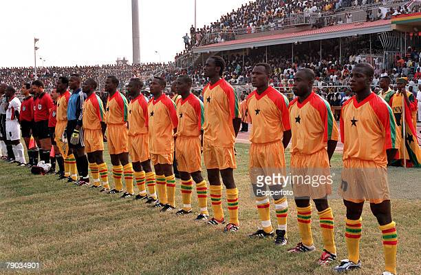 Football 2002 World Cup Qualifier African Second Round Group B 28th January 2001 Accra Ghana Ghana 1 v Liberia 3 The Ghana team line up prior to the...