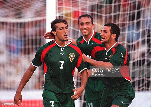 Football 2002 World Cup Qualifier African Second Round Group C 30th June 2001 Rabat Morocco 1 v Egypt 0 Morocco's Moustafa El Hadji is congratulated...