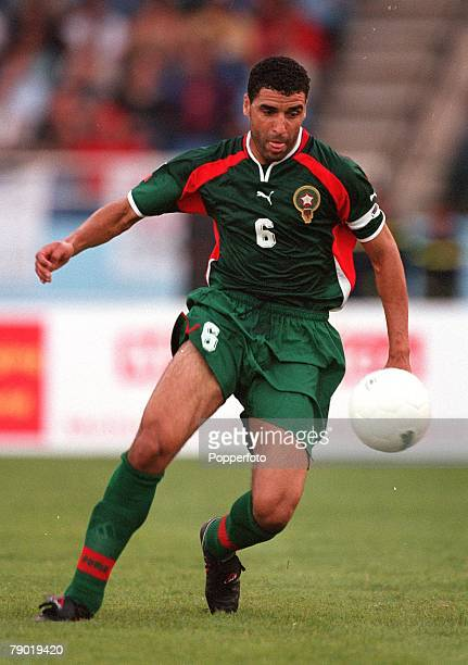 Football 2002 World Cup Qualifier African Second Round Group C 30th June 2001 Rabat Morocco 1 v Egypt 0 Morocco's captain Noureddine Naybet