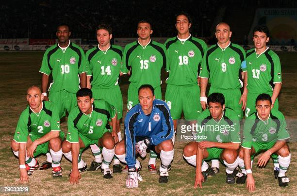 Football 2002 World Cup Qualifier African Second Round Group C Cairo 28th January 2001 Egypt 0 v Morocco 0 Egypt pose for a team group photograph...