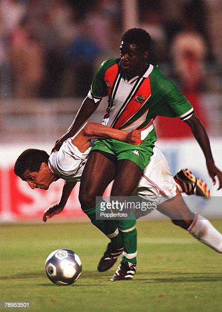 Football 2002 World Cup Qualifier African Second Round Group D 20th May 2001 Tunis Tunisia 1 v Cote d'Ivoire 1 Abib Toure of the Cote d'Ivoire beats...