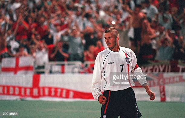 Football 2002 World Cup Qualifier Group 9 6th June 2001 Athens Greece 0 v England 2 England's captain David Beckham celebrates after scoring the...
