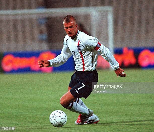 Football 2002 World Cup Qualifier Group 9 6th June 2001 Athens Greece 0 v England 2 England's captain David Beckham