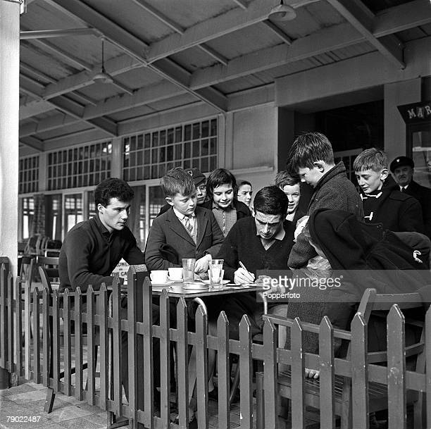 Football 20th February 1962 Norbreck Hydro England Shay Brennan Uniteds new penalty taker signs autographs for young swimmers at the side of the pool...