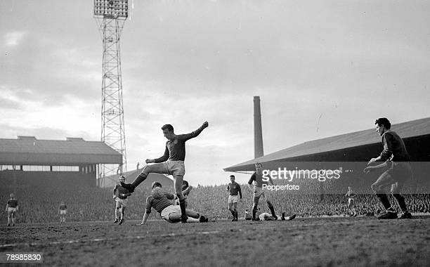 Football 20th March 1963 Old Trafford Manchester FA Cup 5th Round Manchester United 2 v Chelsea 1 A Chelsea defender attempts to clear an attack
