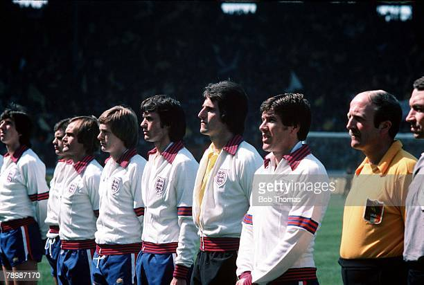 Football 20th May 1978 Hampden Park Scotland Scotland 0 v England 1 England goalkeeper Ray Clemence pictured in the team lineup at Hampden Park