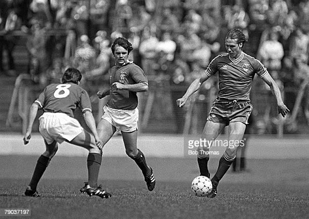 Football 22nd May 1982 Scottish Cup Final Hampden Park Aberdeen 4 v Rangers 1 Aberdeens Doug Rougvie beats Rangers Bobby Russell as Davie Cooper...