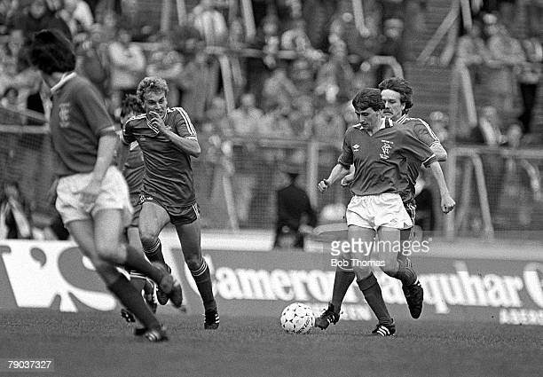 Football 22nd May 1982 Scottish Cup Final Hampden Park Aberdeen 4 v Rangers 1 Rangers Bobby Russell is pursued by Aberdeens Dougie Bell and Neale...