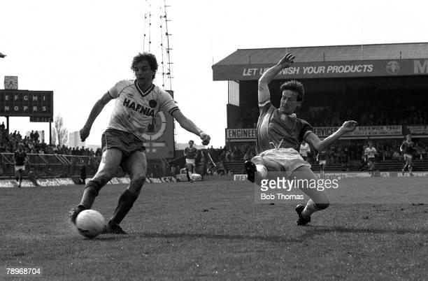 Football 23rd April 1983 St Andrews Birmingham Birmingham City 1 v Everton 0 Evertons Graeme Sharpe prepares to fire in a cross