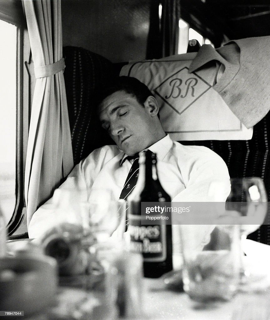 Football, 25th May 1963, Manchester United's Bill Foulkes falls asleep on the train home to Manchester from London following his side's 3-1 victory over Leicester City in the FA Cup Final