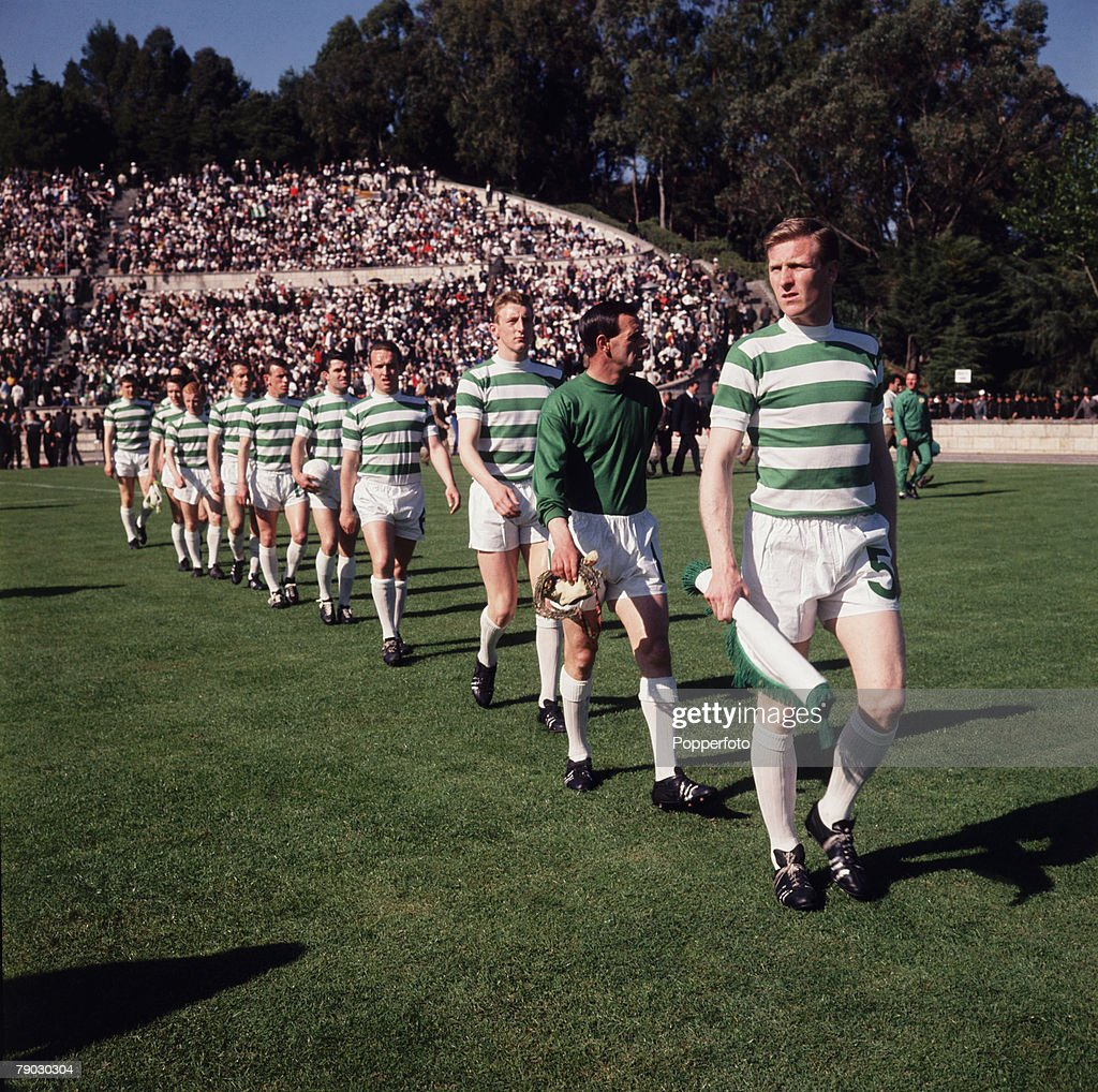 Football. 25th May 1967. European Cup Final. Lisbon, Portugal. Celtic 2 v Inter Milan 1. A picture of the captain Billy McNeill leading out his Celtic team. : News Photo