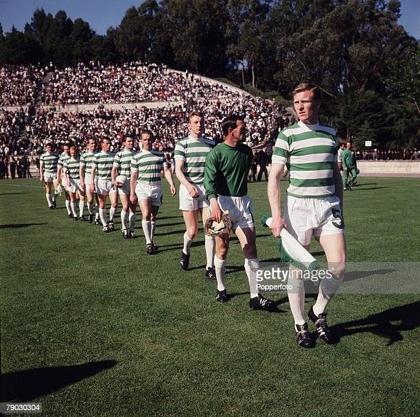 Football, 25th May 1967, European Cup Final, Lisbon, Portugal, Celtic 2 v Inter Milan 1, A picture of the captain Billy McNeill leading out his...