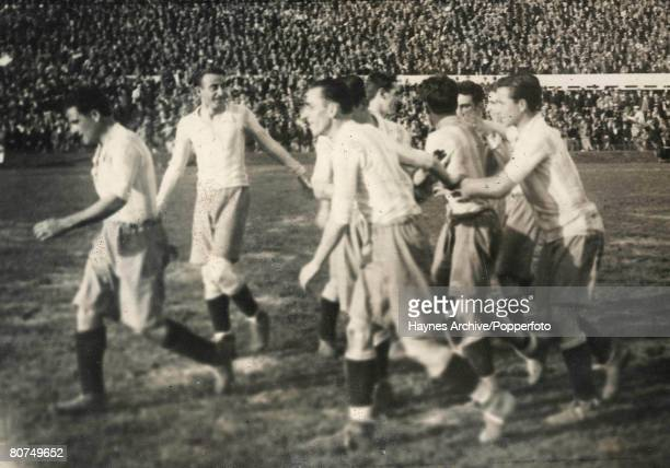 Football 26th July 1930 Estadio Centenario Uruguay World Cup Finals SemiFinal Argentina 6 v USA 1 The delighted Argentinian players celebrate...