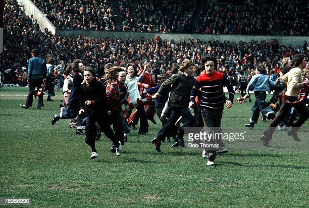 Football 27th April 1974 Old Trafford Manchester Manchester United 0 v Manchester City 1 The local derby is brought to an early end as rival fans...