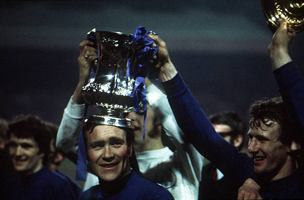 """Football, 29th April FA Cup Final Replay, Old Trafford, Manchester, Chelsea 2 v Leeds United 1 , Chelsea captain Ron """"Chopper"""" Harris holds aloft the..."""
