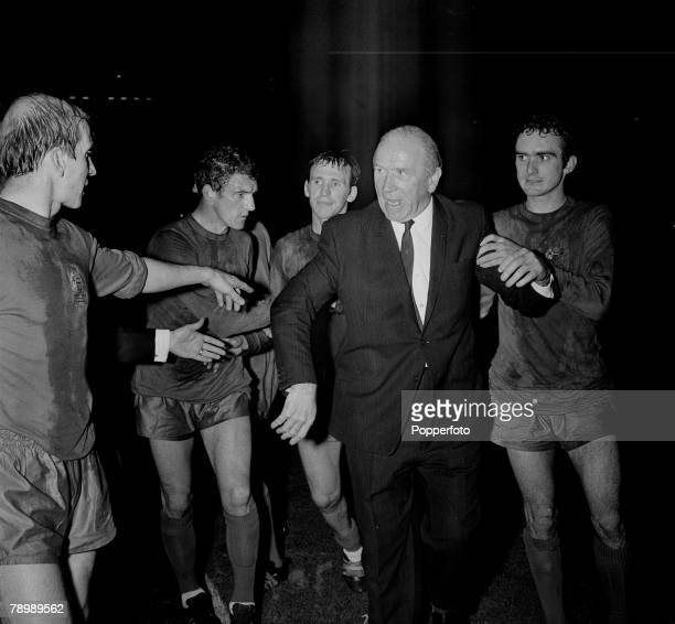 Football 29th May 1968 European Cup Final Wembley London Manchester United 4 v Benfica 1 After Extra time Manchester United manager Matt Busby with...
