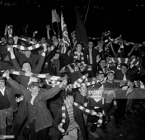 Football 29th May 1968 European Cup Final Wembley London Manchester United 4 v Benfica 1 After Extra time Manchester United fans celebrating outside...
