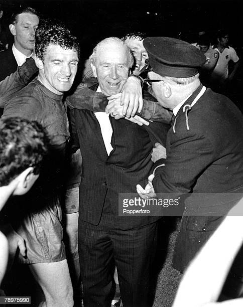 Football 29th May 1968 European Cup Final Wembley Stadium Manchester United v Benfica after extra time Manchester United Manager Matt Busby is hugged...