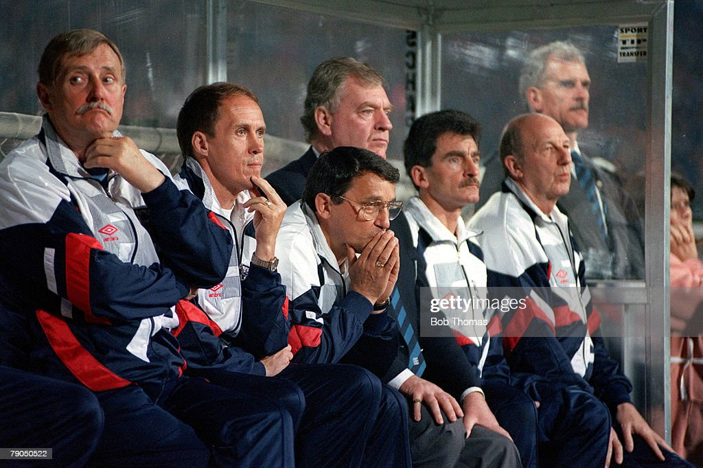 Football, 29th MAY 1993, World Cup Qualifier, Poland 1 v England 1, An anxious looking England manager Graham Taylor watches his team from the bench