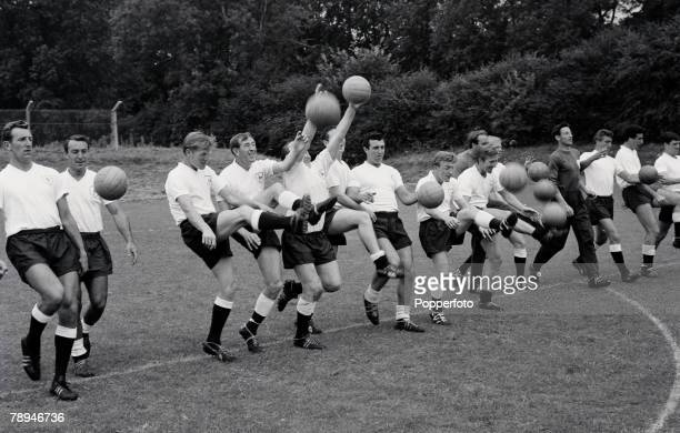 Football 2nd August 1963 Pre Season training Tottenham Hotspur players parctice with balls Players include Tony Marchi Jimmy Greaves Peter Baker...