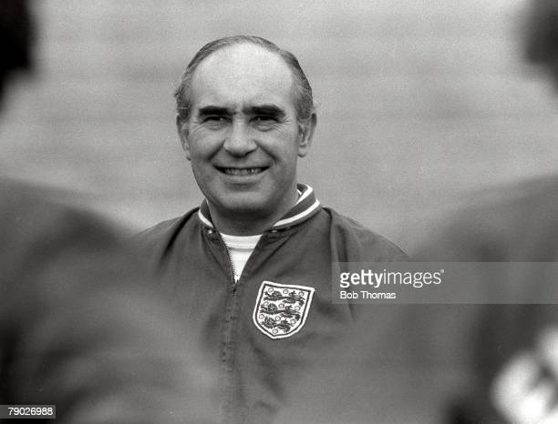 Football 2nd December 1971 Athens Greece England manager Alf Ramsey smiles during an England training session