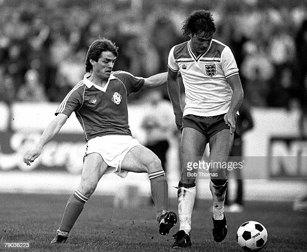 Football 2nd June 1982 Friendly International Iceland 1 v England B 1 Englands Glenn Hoddle is challenged by Icelands Janus Gudlaugsson