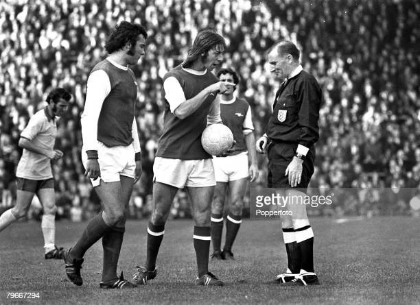 Football 30th September 1972 Highbury London Arsenal 1 v Southampton 0 Arsenals Charlie George shows dissent as he points animatedly at the referee...