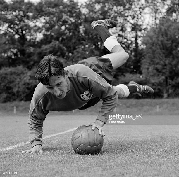 Football 3rd August 1962 Pre Season training Bill Brown the Tottenham Hotspur goalkeeper in action