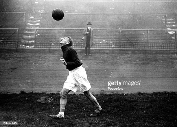 Football, 3rd October 1932, Sindelar the famous Austrian centre forward heading the ball during training at Highbury prior to their International...