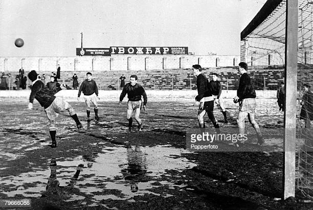Football 4th February 1958 Belgrade Yugoslavia Manchester United players training at the Yugoslav Red army stadium the day before they meet Red Star...