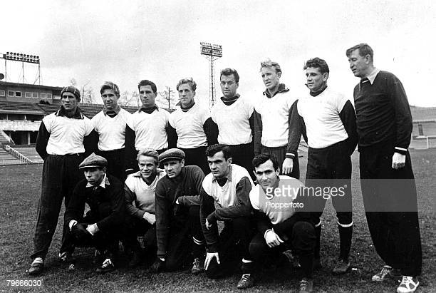 Football 5th November 1957 Russia The Moscow Dynamo team pictured in Moscow Back row B Kuzetsov A Sokolev D Shapovalov A Mamykin V Kesarev V Tsarev K...