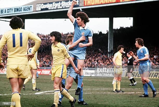 Football 8th April Manchester Citys Brian Kidd jumps in the air to celebrate after scoring a goal against Leeds United