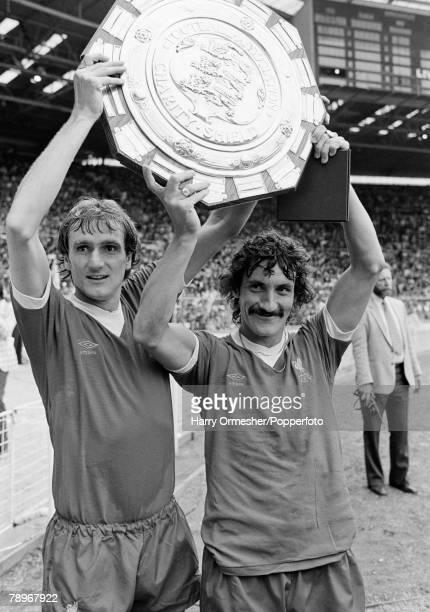 Football 9th August 1980 Wembley Stadium London FA Charity Shield Liverpool 1 v West Ham United 0 Liverpools winning goalscorer Terry McDermott and...