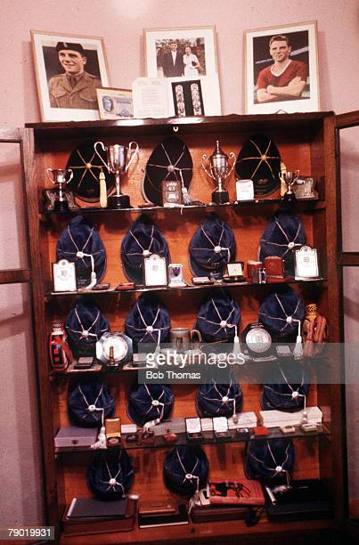 Football A shrine containing England caps photographs and trophies dedicated to the memory of Manchester United football legend Duncan Edwards who...