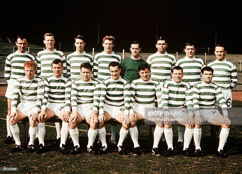 Football, 1967, A team group picture of Glasgow Celtic FC, who went on to win the European Cup against Inter Milan, The Picture shows (From left to Right) Back row; Willie O'Neill, Billy McNeill, Tommy Craig, Tommy Gemmell, Ronnie Simpson, John Hughes, Bobby Murdoch, John Clark, Front row; Jimmy Johnstone, Bobby Lennox, Willie Wallace, Steve Chalmers, Charlie Gallacher, Joe McBride, Bertie Auld