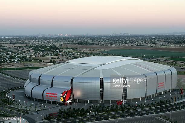 Aerial exterior view of University of Phoenix Stadium home of the Arizona Cardinals Glendale AZ CREDIT Gene Lower