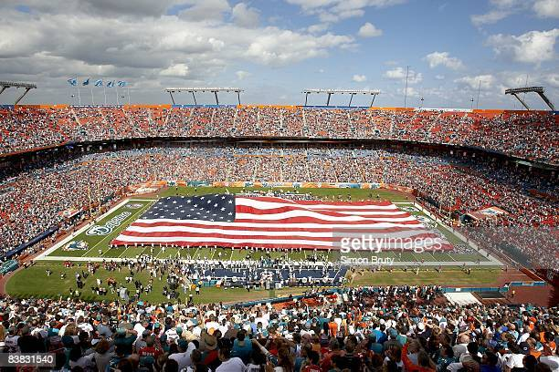 Aerial view of Dolphin Stadium and USA flag before Miami Dolphins vs New England Patriots Miami FL CREDIT Simon Bruty