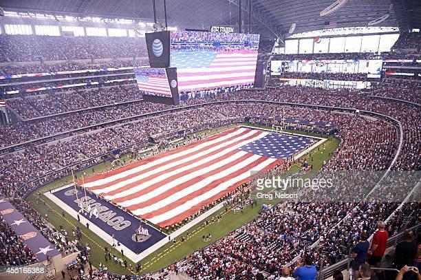 Aerial view of USA flag covering field during anthem before Dallas Cowboys vs San Francisco 49ers at AT&T Stadium. Arlington, TX 9/7/2014 CREDIT:...