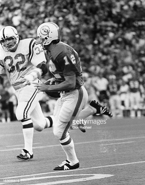 AFC Championship Baltimore Colts Mike Curtis in action defense vs Miami Dolphins QB Bob Griese at Orange Bowl Stadium Miami FL CREDIT Dick Raphael