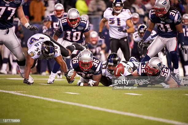 AFC Championship Baltimore Ravens Emmanuel Cook in action fumble recovery vs New England Patriots at Gillette Stadium Foxborough MA CREDIT David...