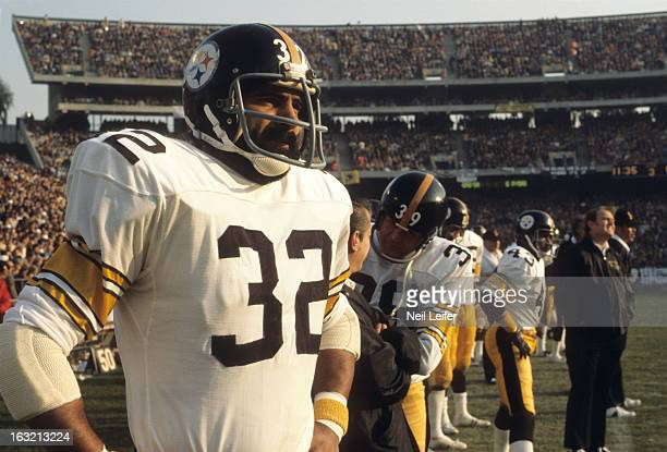 AFC Championship Closeup of Pittsburgh Steelers Franco Harris on sidelines during game vs Oakland Raiders at OaklandAlameda County Coliseum Oakland...