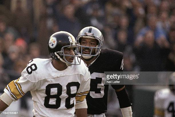 AFC Championship Closeup of Pittsburgh Steelers Lynn Swann in action vs Oakland Raiders at OaklandAlameda County Coliseum Oakland CA CREDIT Neil...